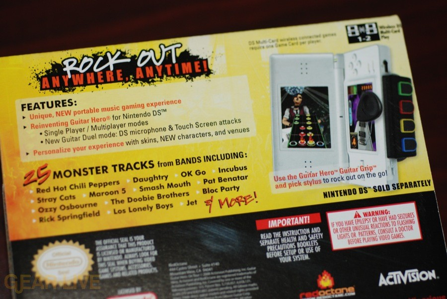 Guitar Hero: On Tour game box back