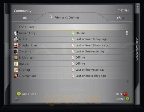 Games for Windows LIVE Guide: Friends List