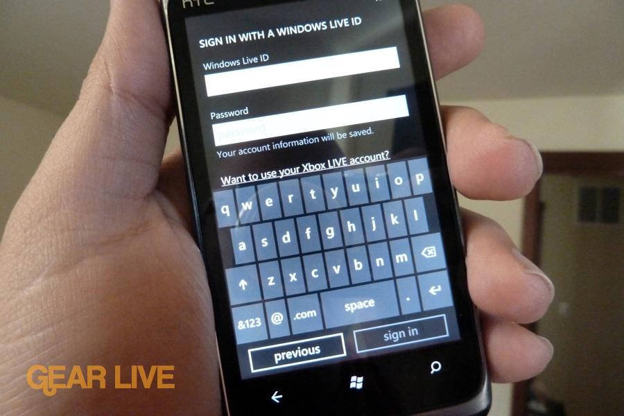 HTC Surround Windows Live ID