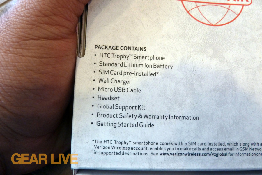 HTC Trophy box contents