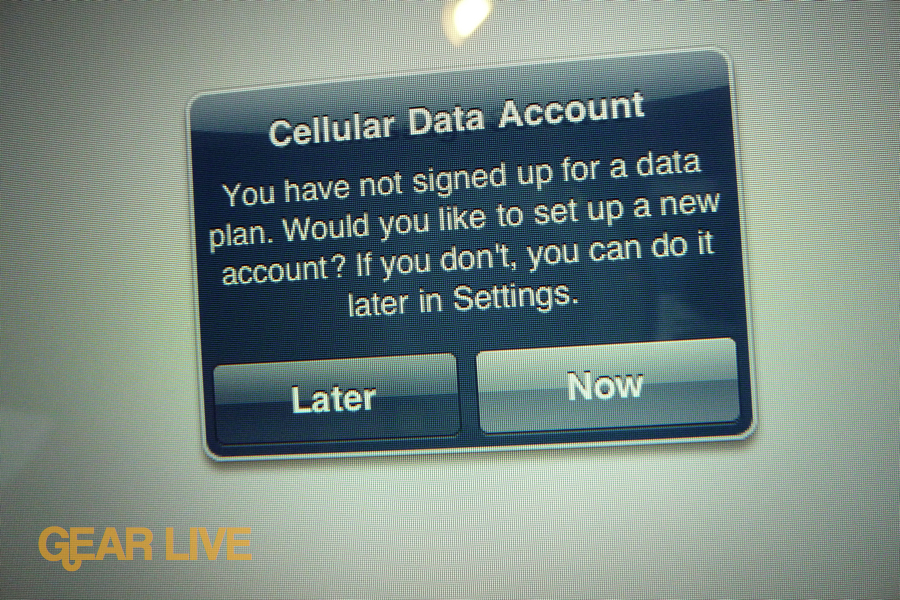 iPad 3G Cellular Data Account notification