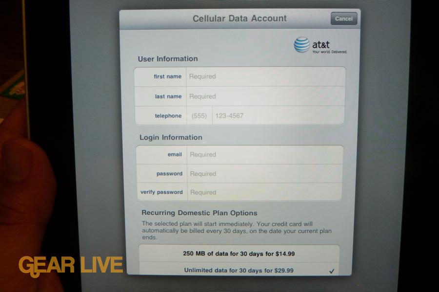 iPad 3G AT&T account setup