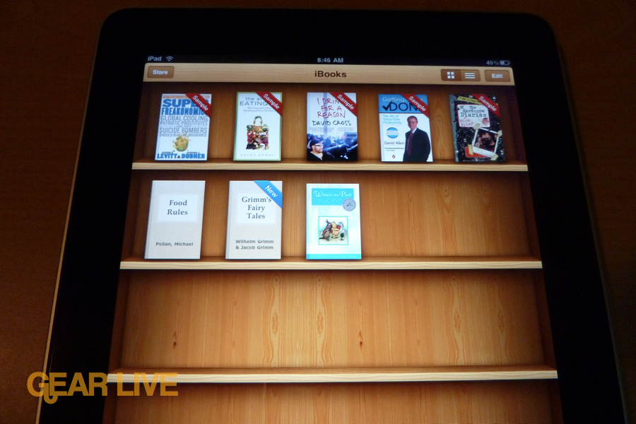 iPad apps: iBooks shelf