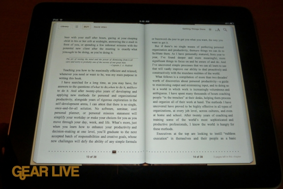 iPad apps: iBooks landscape view