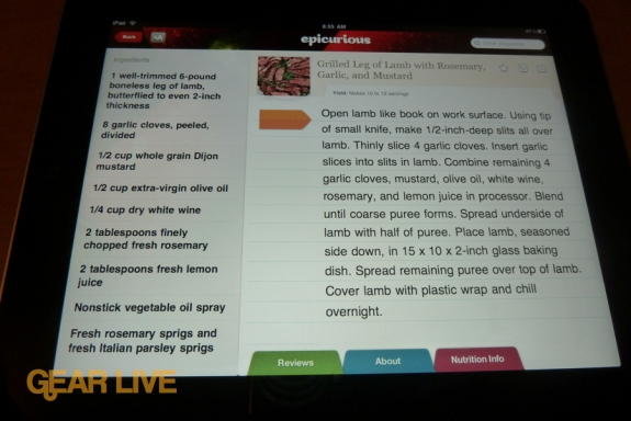 iPad Epicurious app