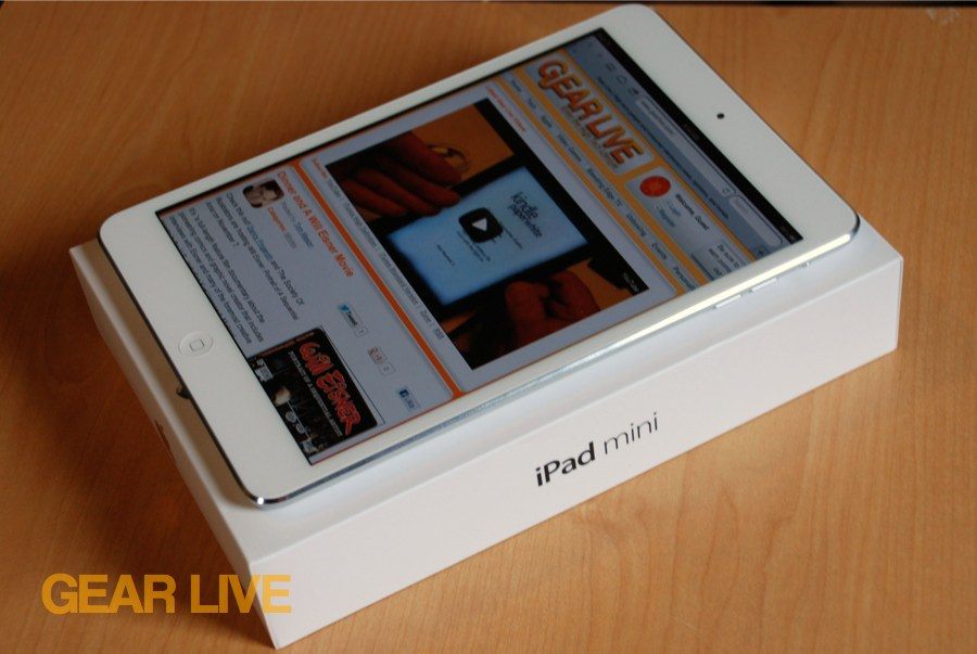 Apple iPad mini on top of box