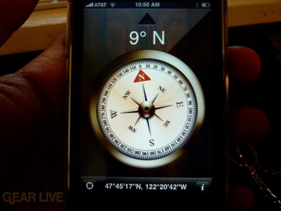 iPhone 3G S Apps: Compass in use