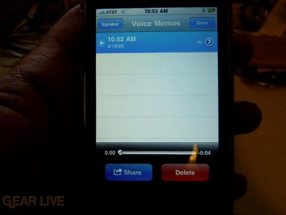 iPhone 3G S Apps: Voice Memos menu