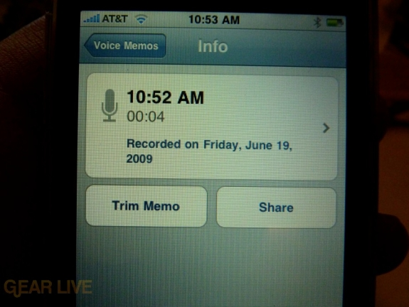 iPhone 3G S Apps: Voice Memos info