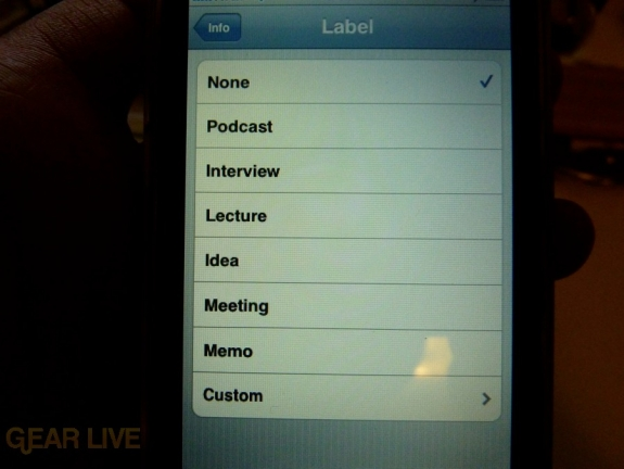 iPhone 3G S Apps: Voice Memo Labels
