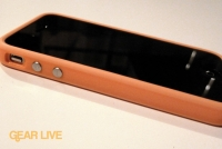 iPhone 4 side with orange Bumper Case