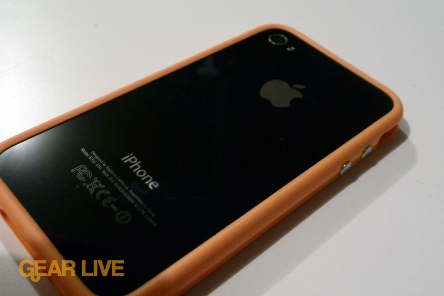 Back of iPhone 4 in orange bumper case
