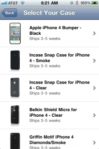 iPhone 4 Case Program select screen