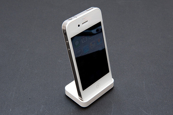 White iPhone 4 in dock