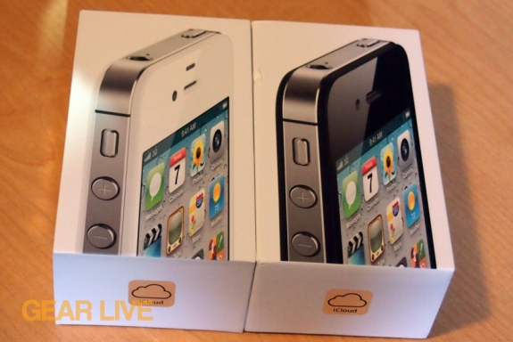 Black and white iPhone 4S boxes