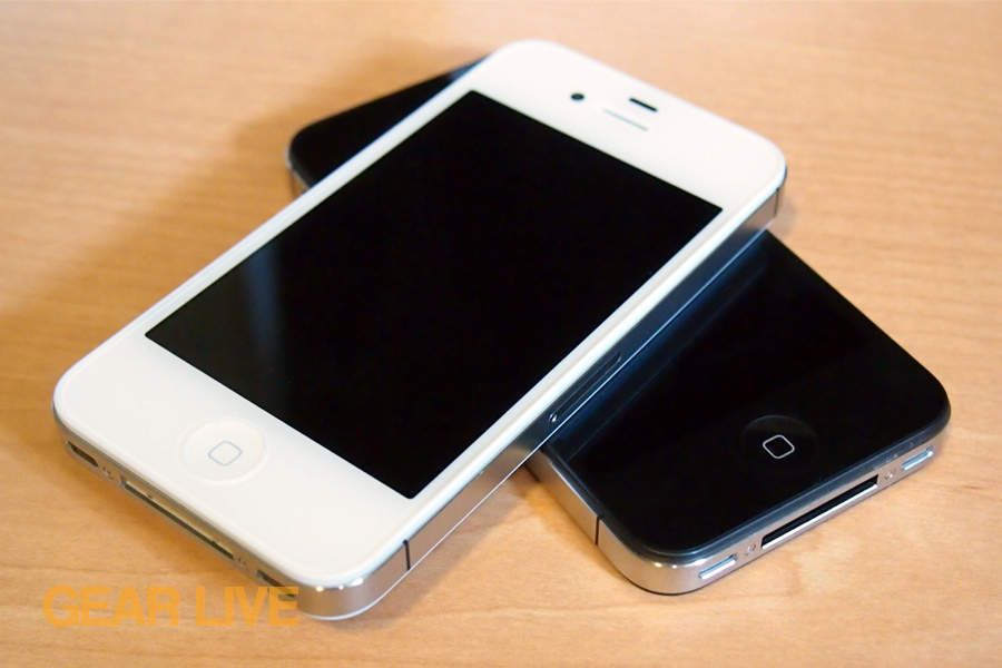 White and black iPhone 4S stacked