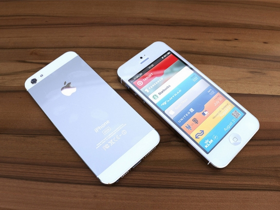 White iPhone 5 3D render front and back 2