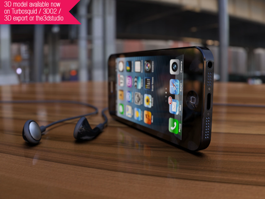 Black iPhone 5 3D render