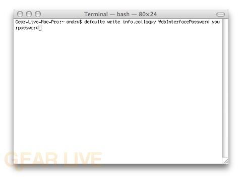 Create IRC Password in Terminal