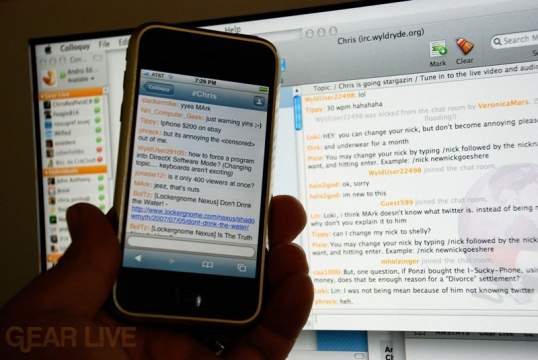 iPhone Colloquy IRC Alongside Colloquy OS X