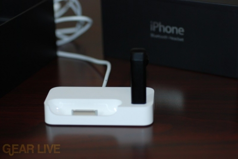 iPhone Bluetooth Headset in dock