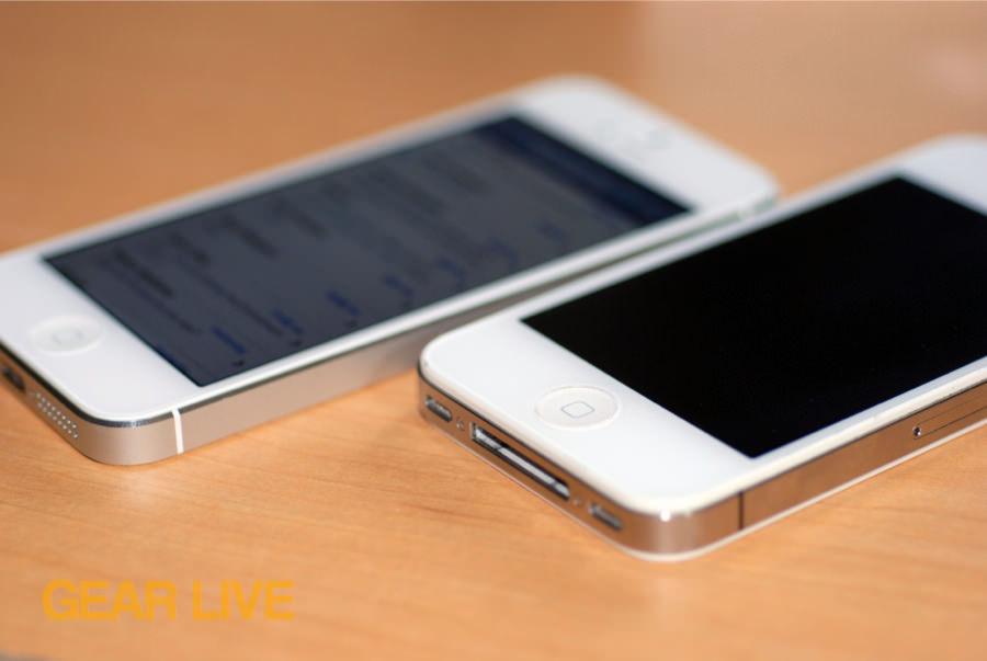 iPhone 5 and iPhone 4S side by side