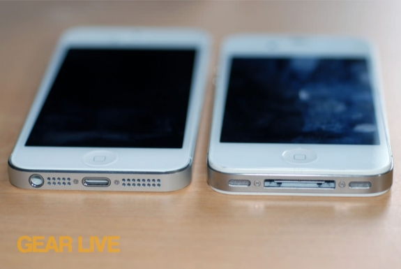 iPhone 5 and iPhone 4S side-by-side dock comparison