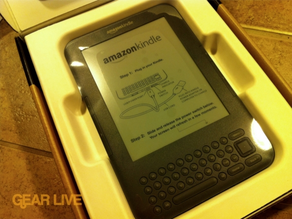 Kindle 3 inside the packaging