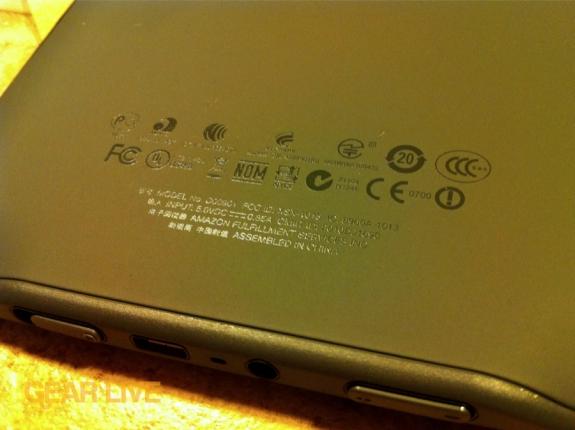 Amazon Kindle 3 back symbols