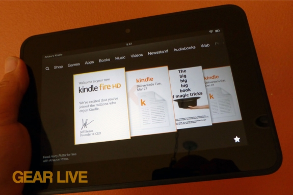 Amazon Kindle Fire HD 7 carousel