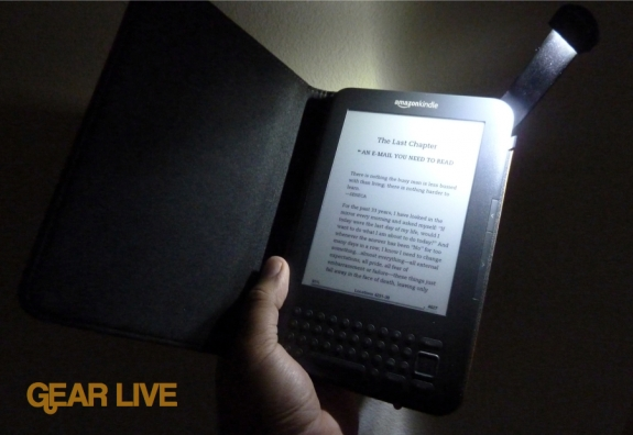 Kindle 3 Lighted Leather Cover turned on