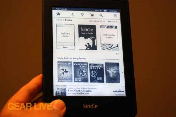Amazon Kindle Paperwhite with light on