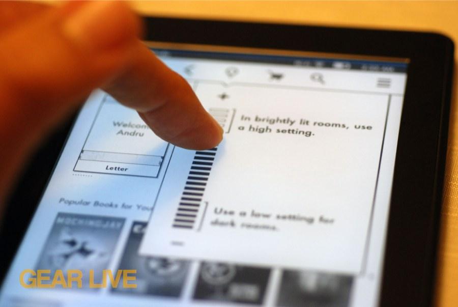 Kindle Paperwhite brightness settings