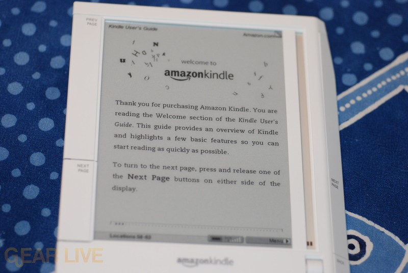 Amazon Kindle powered on