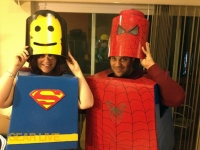 Wearing the LEGO Superhero Halloween costumes