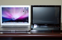 MacBook Air vs. Voodoo Envy 133 open