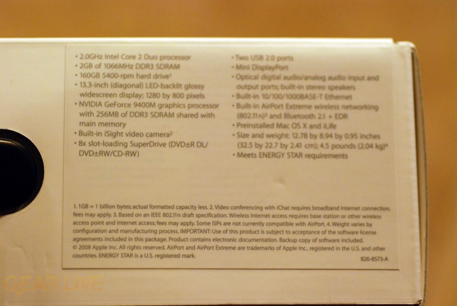 MacBook 2008 box specs