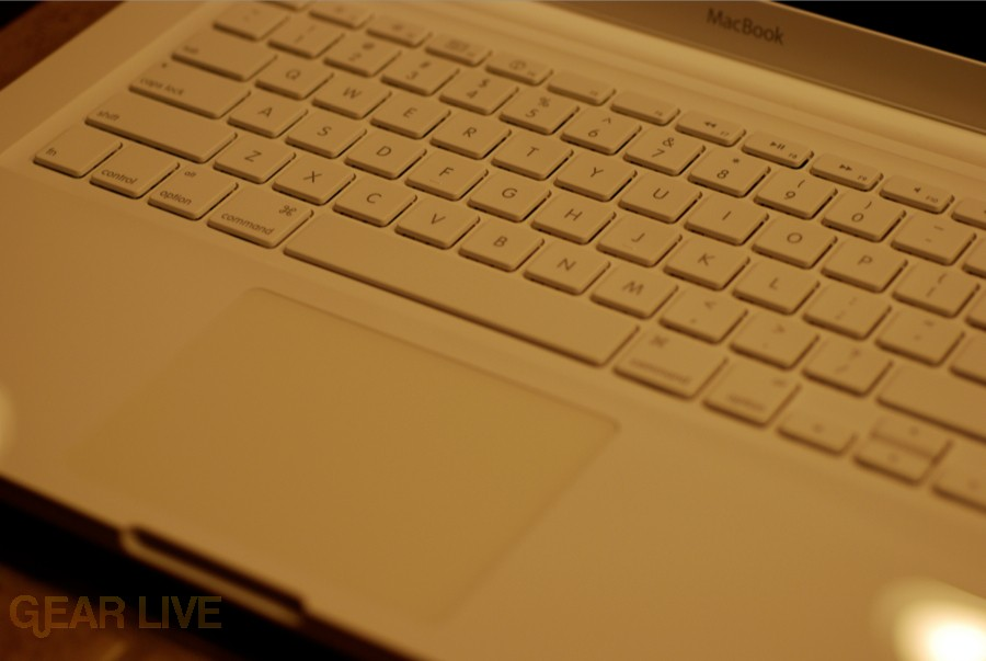 White unibody MacBook keyboard and touchpad