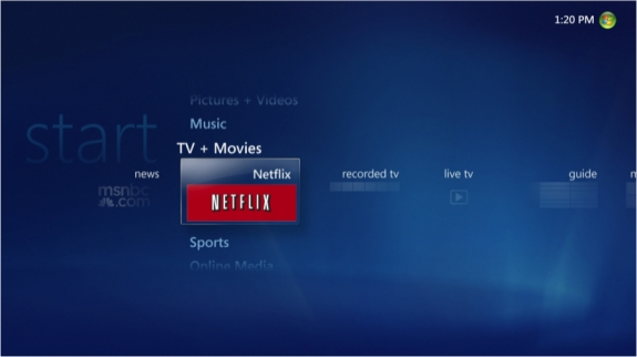 Windows Media Center Netflix tile