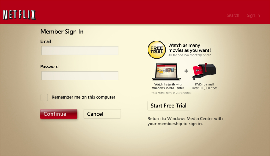 Windows Media Center Netflix login