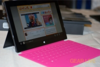 Microsoft Surface and pink Touch Cover