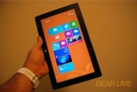 Holding Microsoft Surface in tablet mode