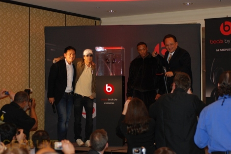 Dre, Noel Lee, Kevin Lee pose with Beats by Dr. Dre Headphones
