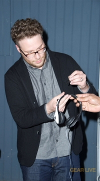 Seth Rogan signs Monster DNA White Tuxedo headphones