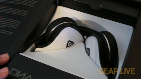 Monster DNA White Tuxedo headphones folded  in box