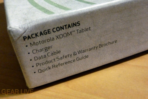Motorola Xoom package contents