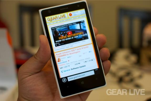 Nokia Lumia 1020 Internet Explorer browser