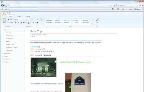 Microsoft Office Online OneNote