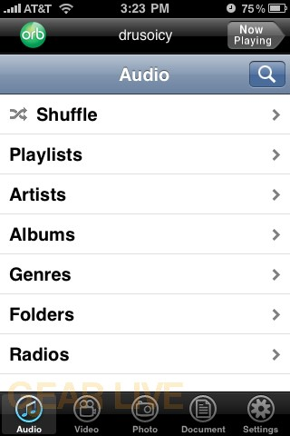 OrbLive Audio Menu on iPhone