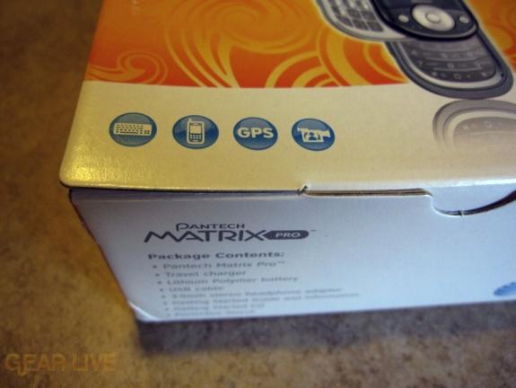 Pantech Matrix Pro box features